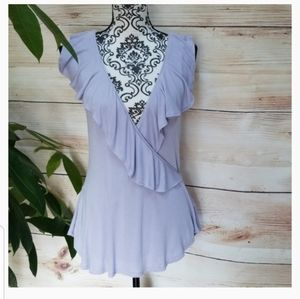 Free People Clementine Ruffle Tank In lilac Size S